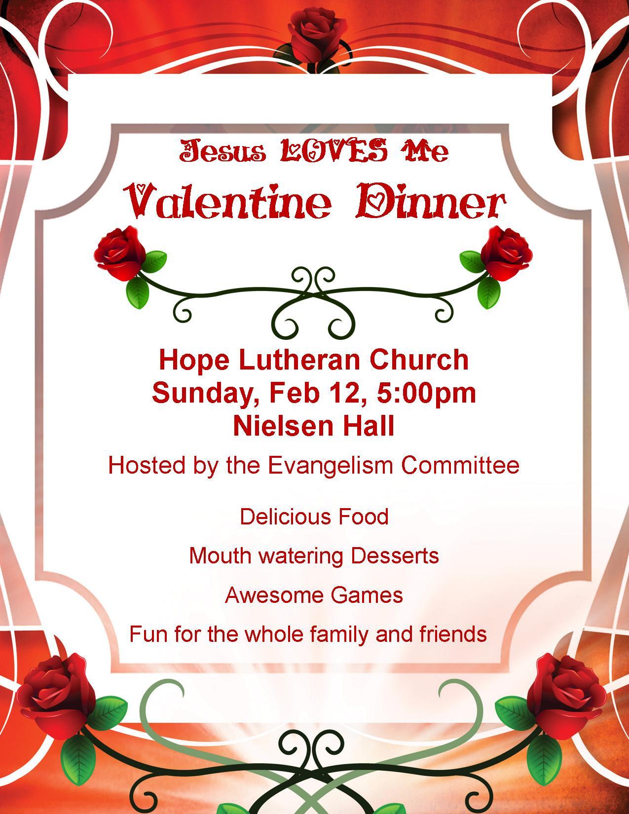 Valentines Dinner 2020  Jesus Loves Me Valentine Dinner Hope Evangelical