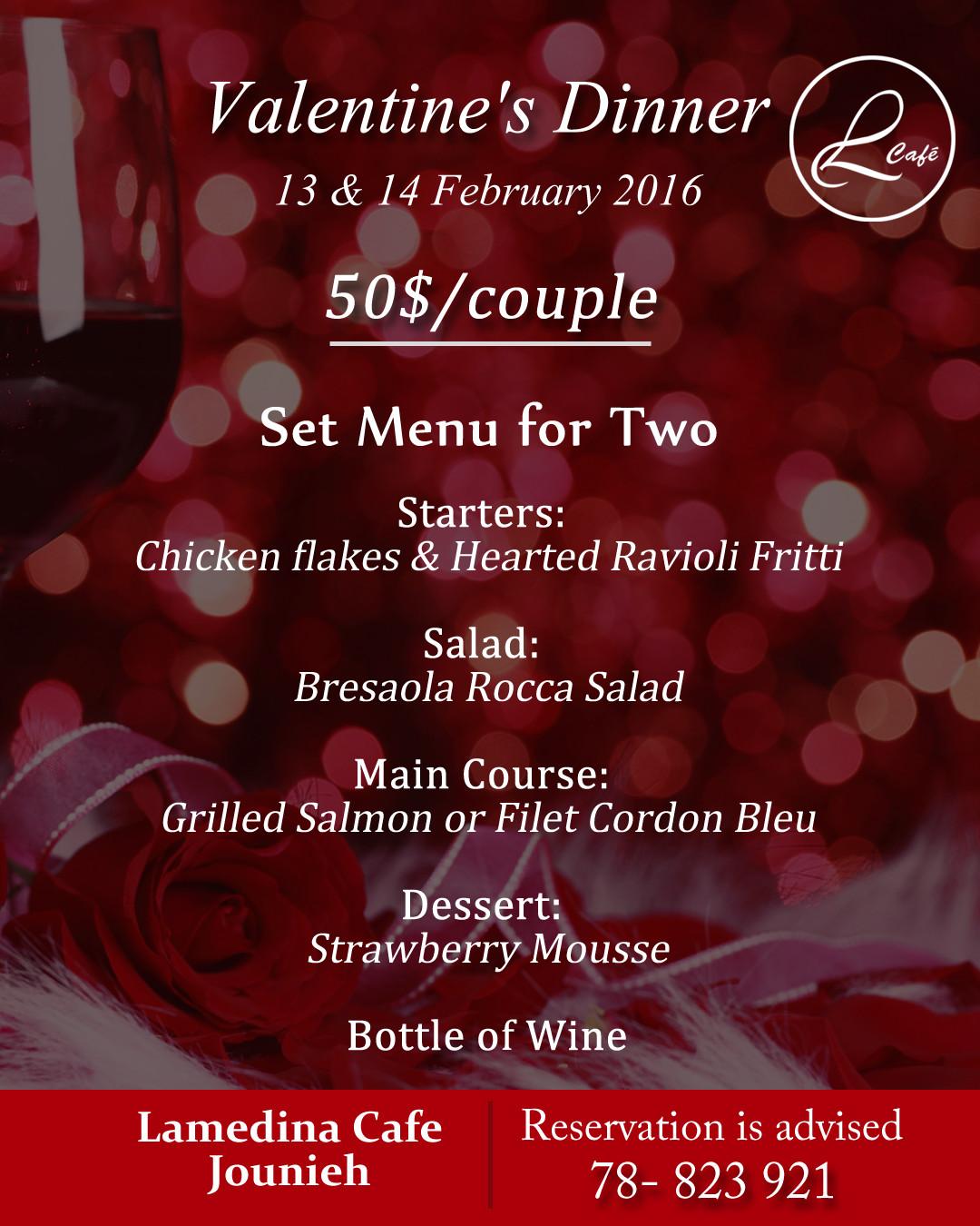 Valentines Dinner 2020  Valentine s Dinner at Lamedina Cafe Lebtivity