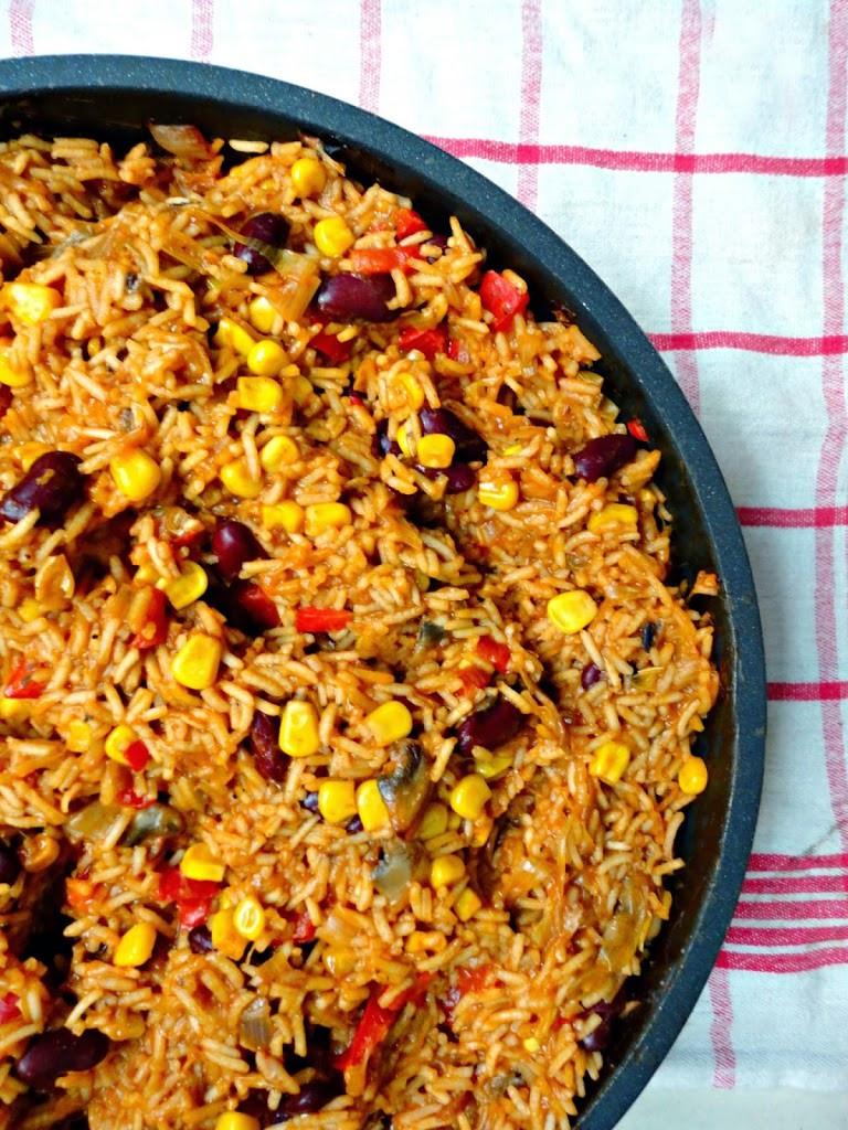 Veg Mexican Rice  Ve arian e Pan Mexican Rice Healthy