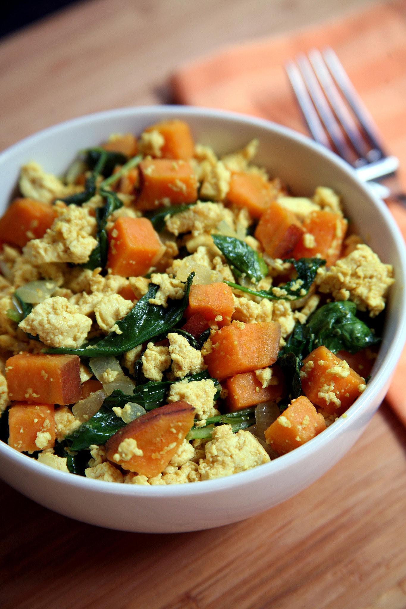 Vegan Breakfast Recipe  Vegan Breakfast Recipes Tofu Kale Sweet Potato Scramble