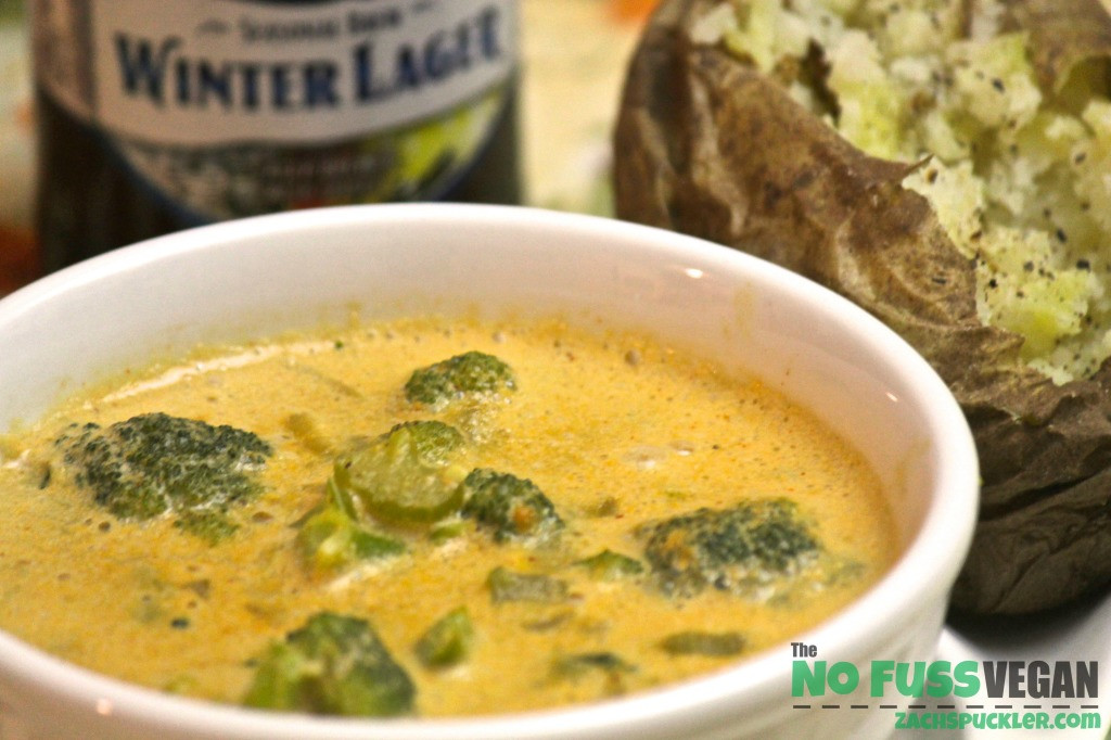 Vegan Broccoli Cheddar Soup  Vegan Creamy Cheesy Broccoli Soup