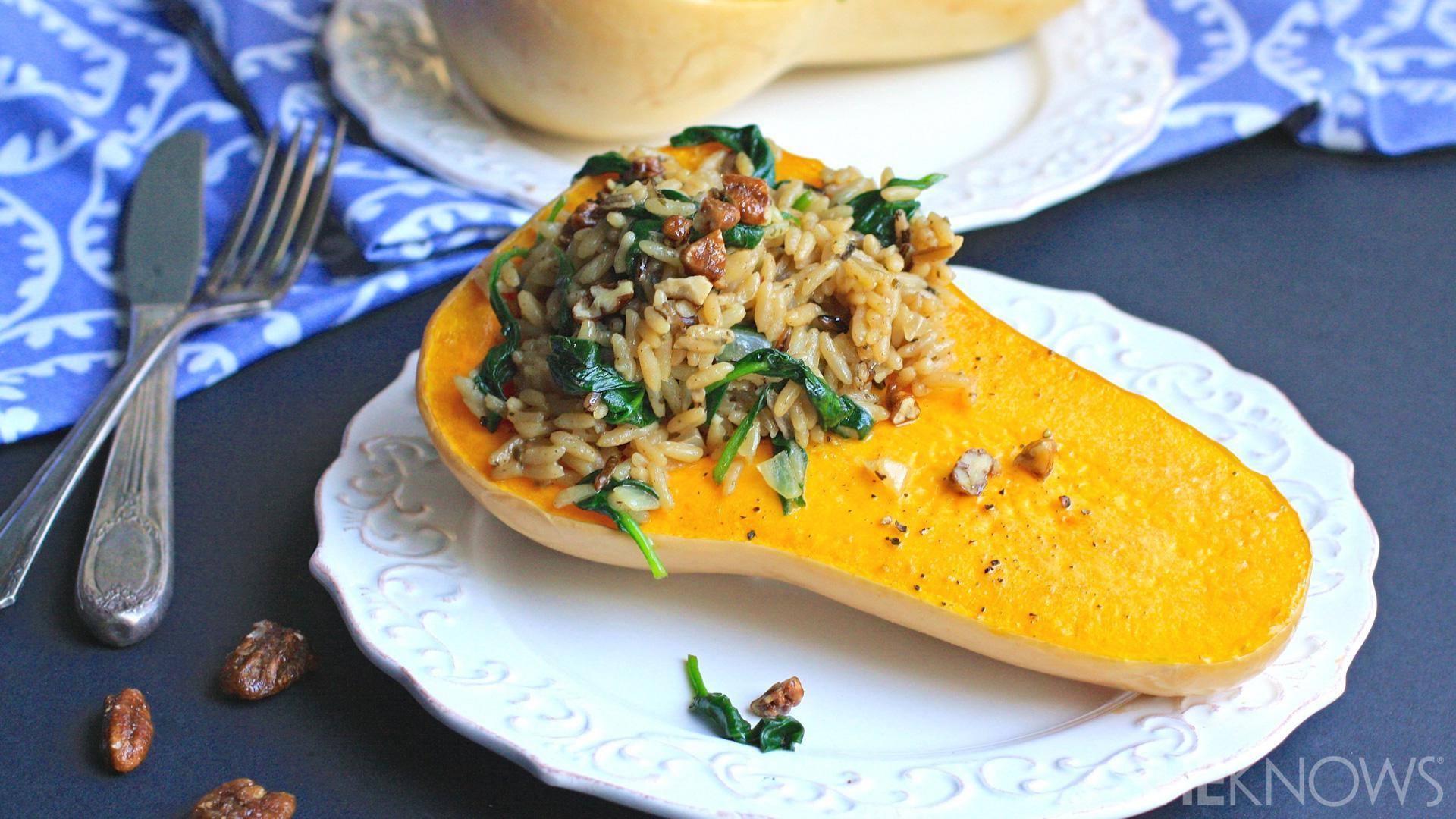 Vegan Butternut Squash Recipes  Vegan brown rice and spinach stuffed butternut squash