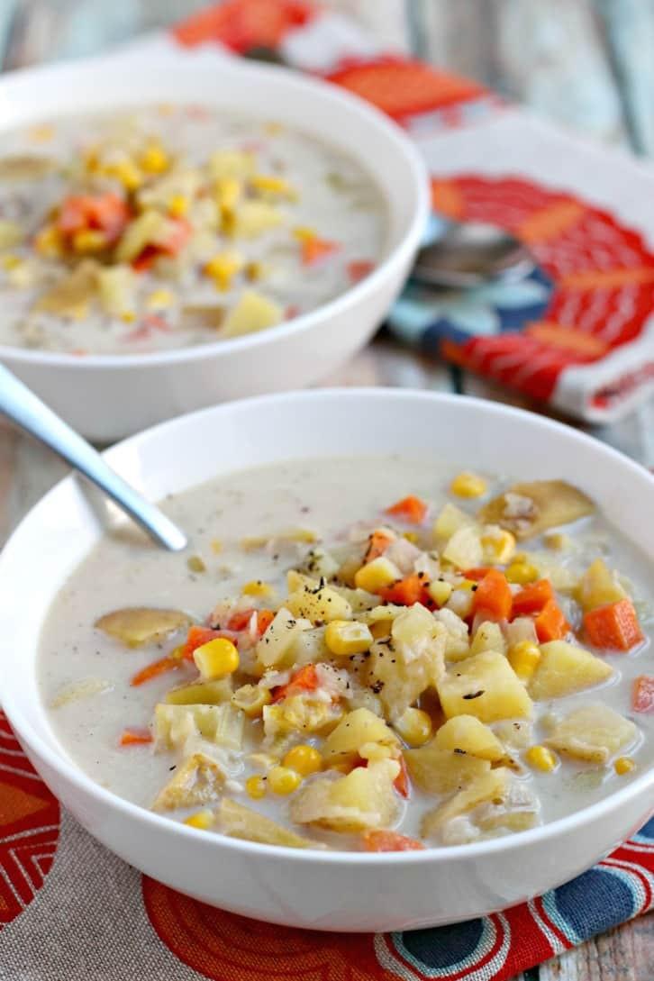 Vegan Corn Chowder  Vegan Potato Corn Chowder Instant Pot Veggies Save The Day