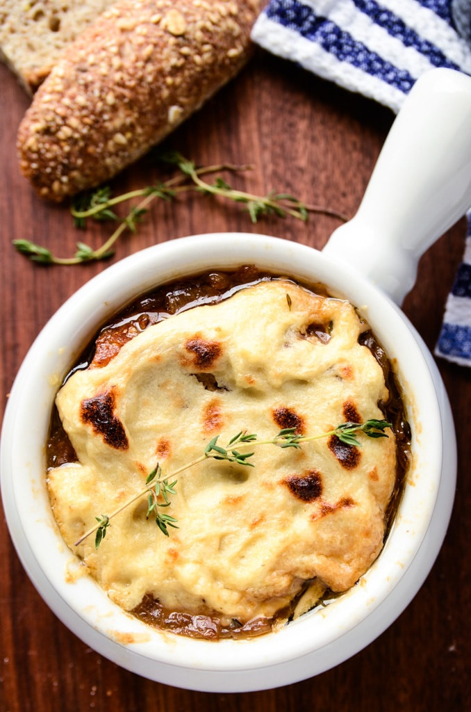Vegan French Onion Soup  Vegan French ion Soup with Homemade Mozzarella