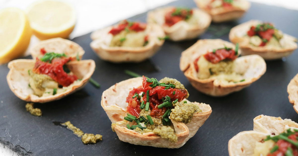 Vegan Gluten Free Appetizers  Pesto & sun dried tomato cups Perfect for New Year