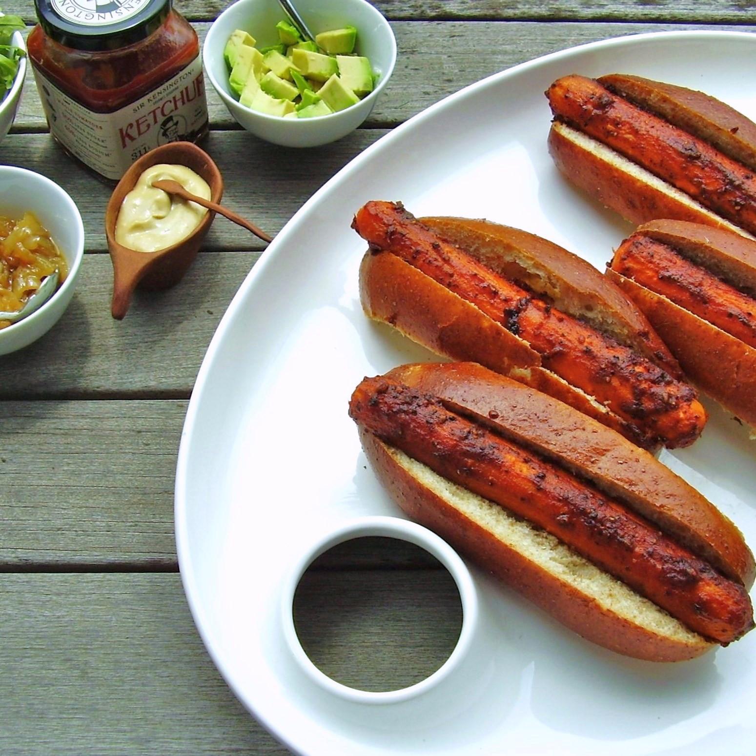 Vegan Hot Dogs  roasted vegan carrot hot dogs