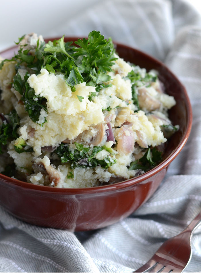 Vegan Mashed Cauliflower  Vegan Mashed Cauliflower with Kale and Mushroom