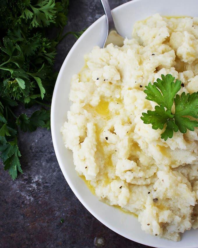 Vegan Mashed Cauliflower  Garlicky Mashed Cauliflower