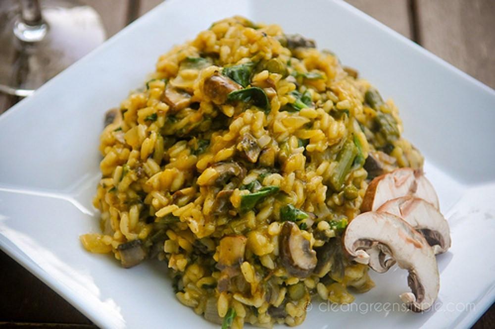 Vegan Mushroom Risotto  Mushroom and Asparagus Risotto [Vegan] e Green Planet