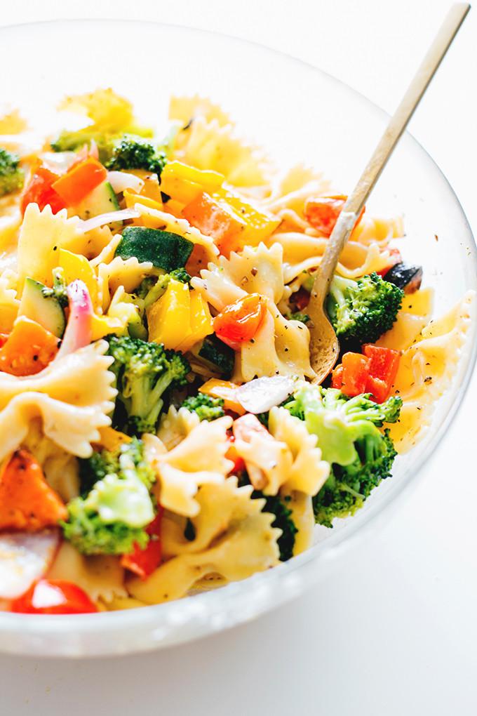 Vegan Pasta Salad  Trippy Vegan Rainbow Pasta Salad
