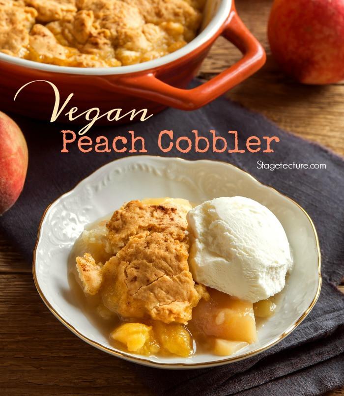 Vegan Peach Cobbler  Vegan Fresh Peach Cobbler Recipe