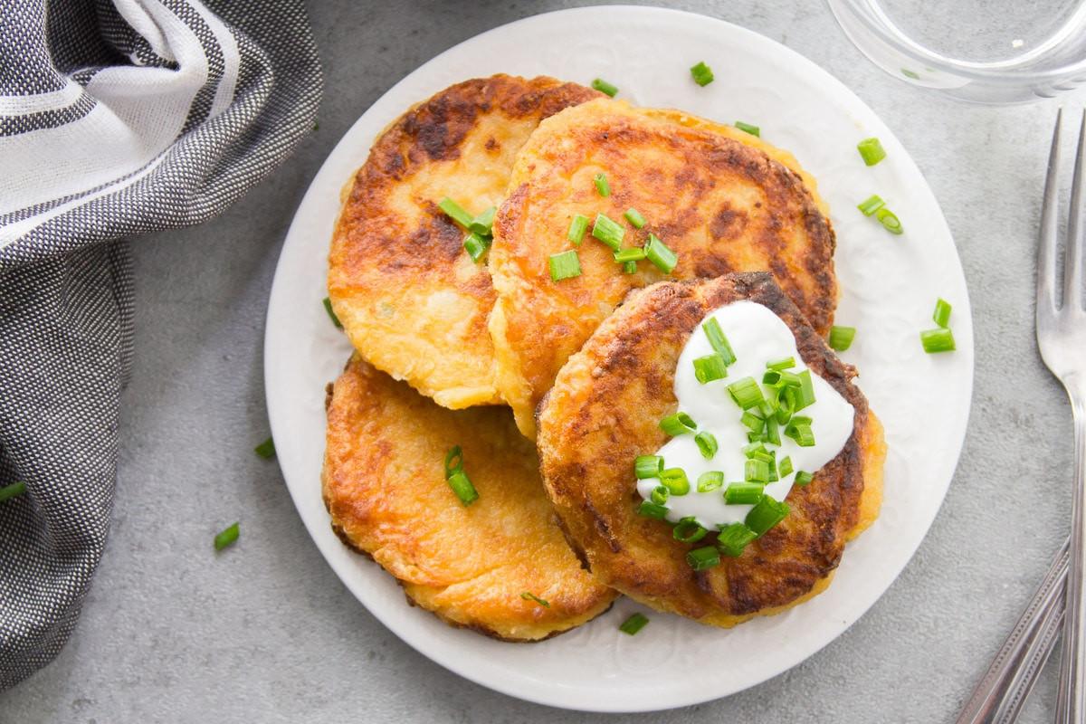Vegan Potato Pancakes  Cheesy Vegan Mashed Potato Pancakes Connoisseurus Veg