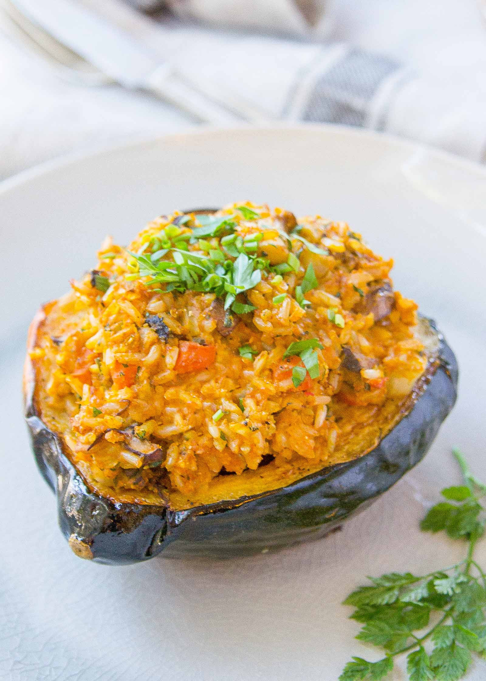 Vegan Squash Recipes  Vegan Stuffed Squash with Brown Rice and Mushrooms Recipe