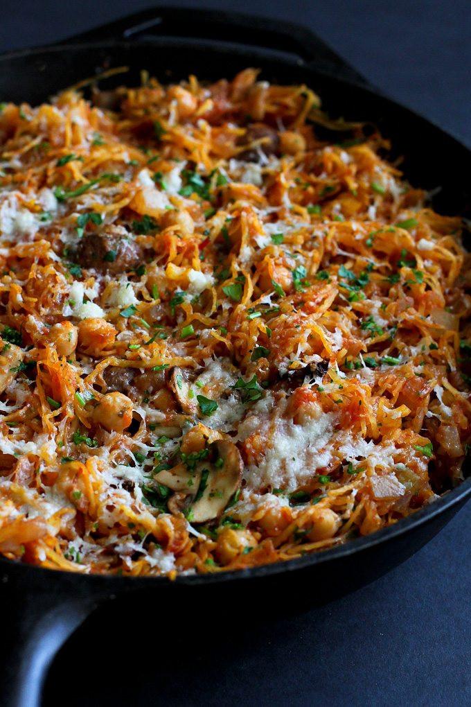 Vegan Squash Recipes  Ve arian Spaghetti Squash Skillet Recipe Cookin Canuck