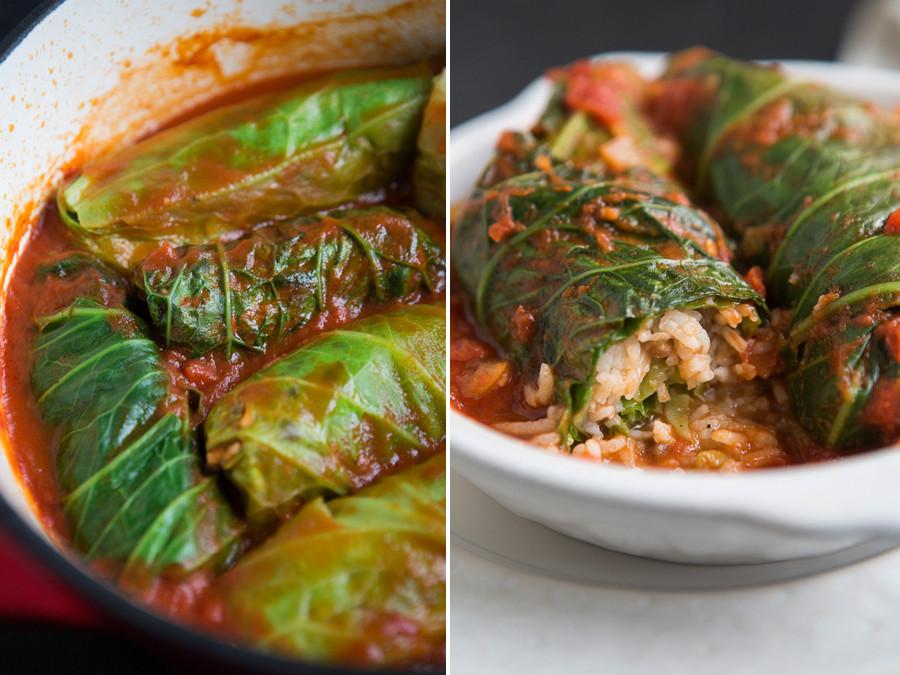 Vegan Stuffed Cabbage  Vegan Cabbage Rolls with Tomato Sauce