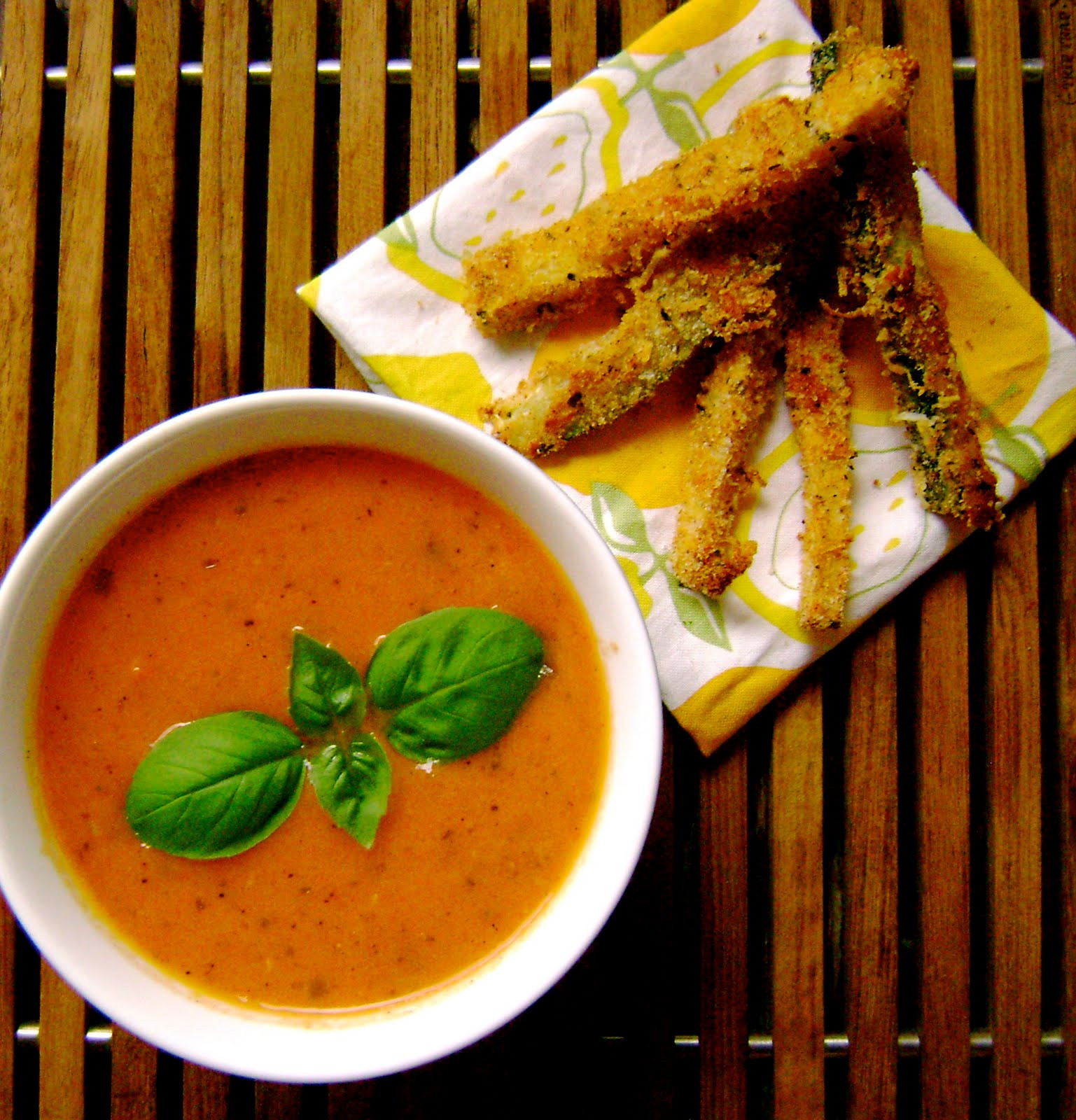 Vegan Tomato Soup  today i ate creamy vegan tomato soup with zucchini fries