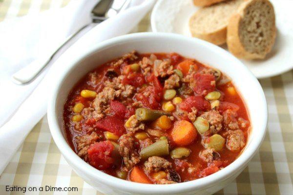 Vegetable Beef Soup Crock Pot  Easy Crock pot Ve able Soup Recipe Slow Cooker Ve able