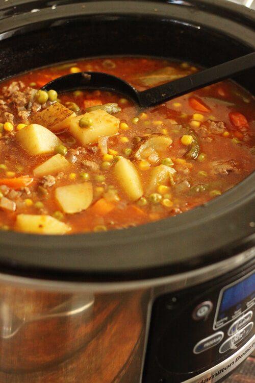 Vegetable Beef Soup Crock Pot  Slow Cooker Ve able Beef Soup