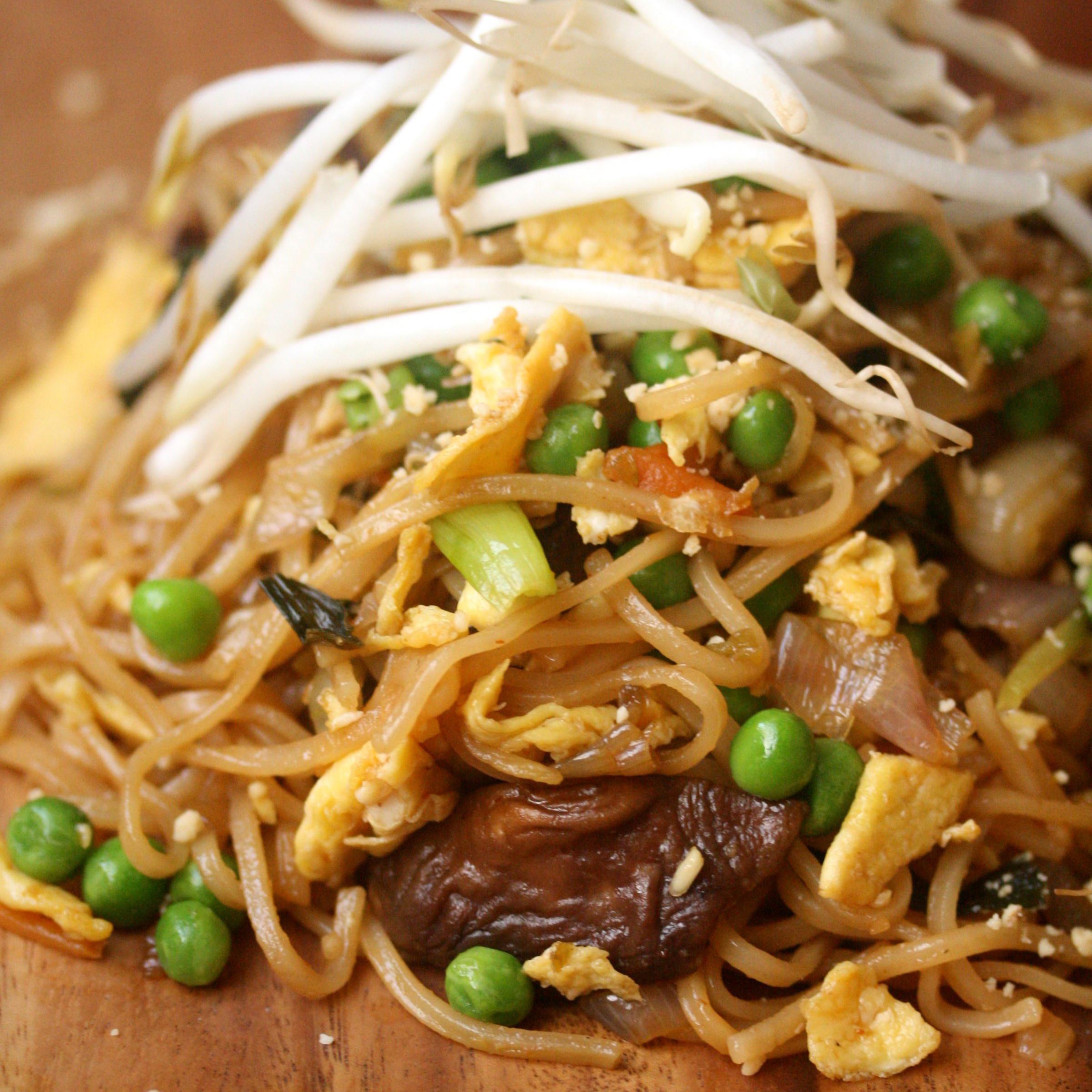 Vegetable Pad Thai  Ve able Pad Thai with Peas Carrots and Mushrooms Recipe