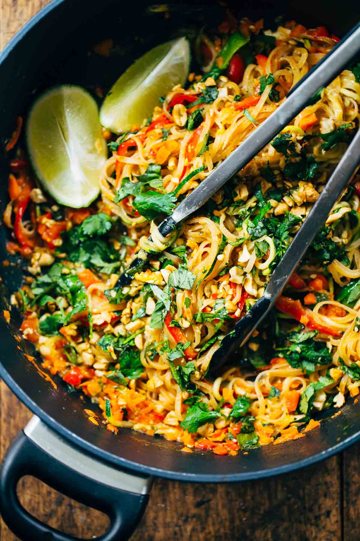Vegetable Pad Thai  Rainbow Ve arian Pad Thai with Peanuts and Basil Recipe