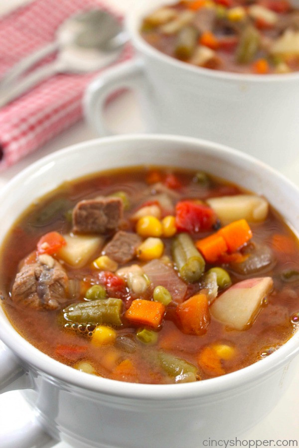 Vegetable Soup With Beef  35 Soup Recipes to Warm You Up Creations by Kara