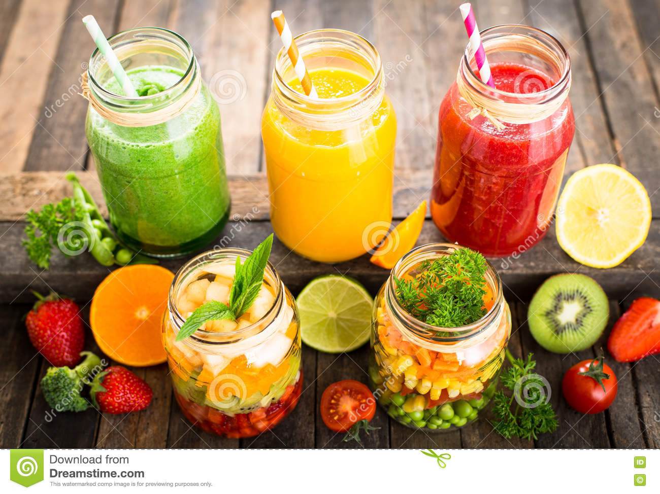 Vegetables And Fruit Smoothies  Healthy Fruit And Ve able Salad And Smoothies Stock
