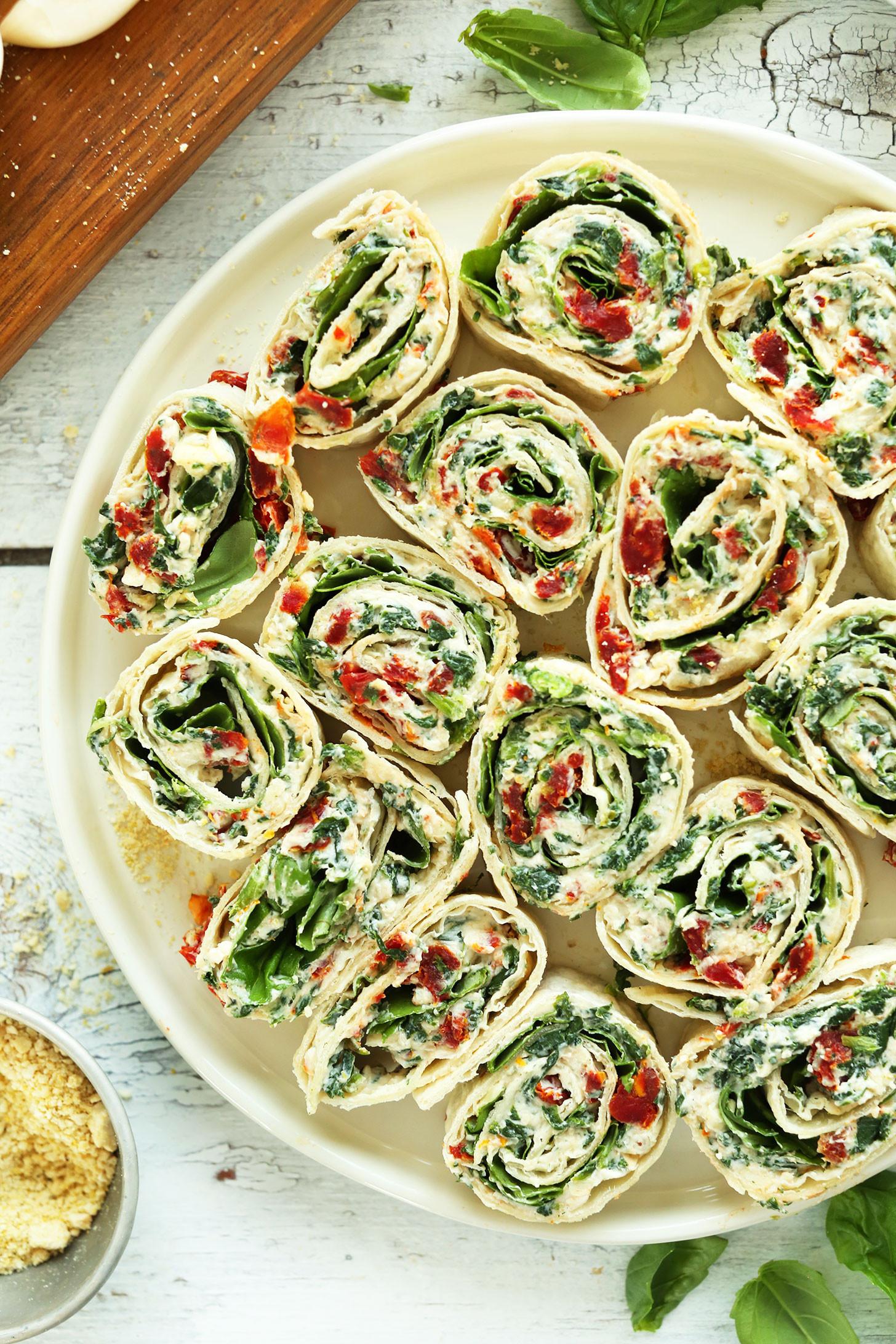 Vegetarian Appetizer Recipes  Sun Dried Tomato Basil Pinwheels