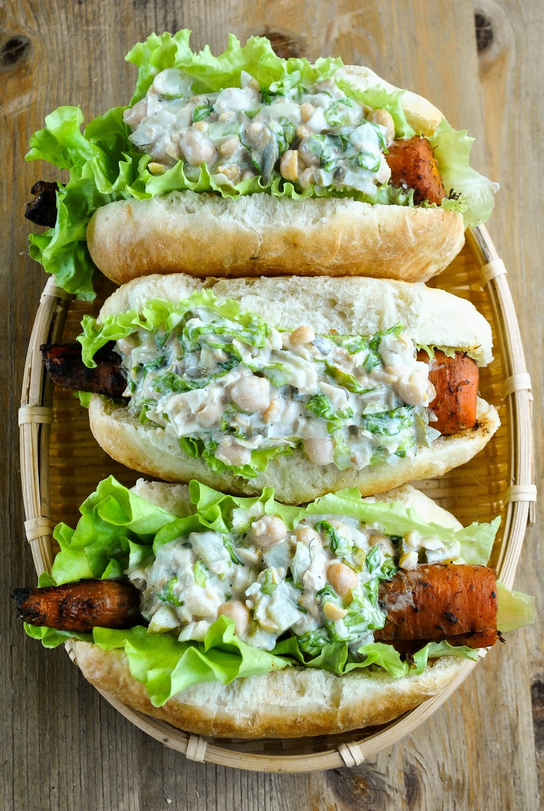 Vegetarian Bbq Recipes  Smoky barbecue carrot hot dogs with creamy chickpea salad