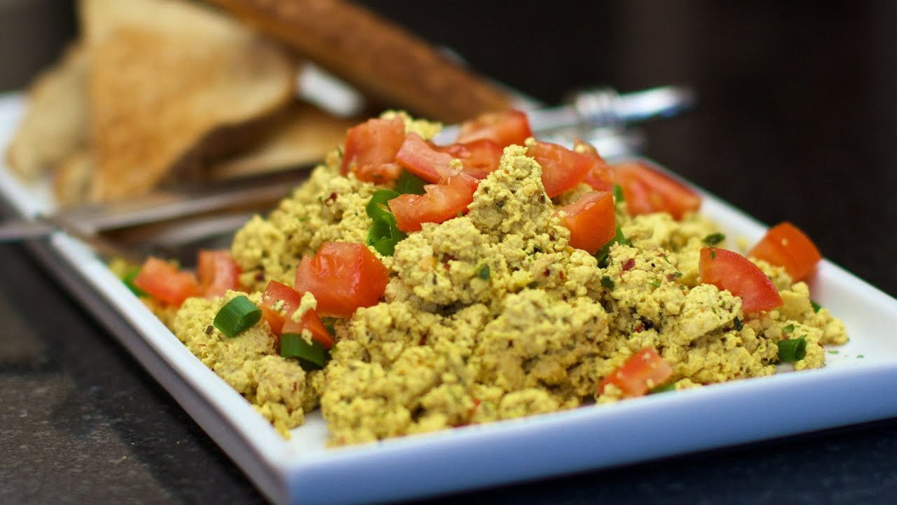 Vegetarian Breakfast Ideas No Eggs  How to make Tofu Scramble EASY Vegan breakfast scrambled