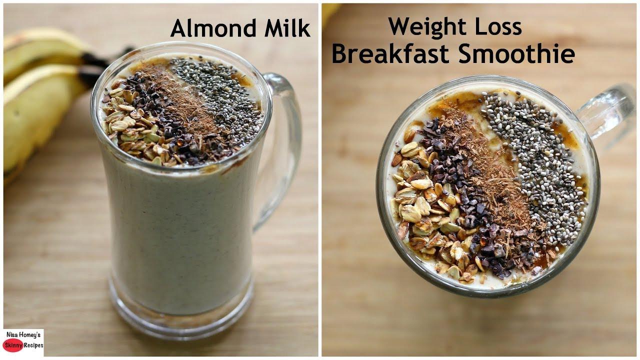 Vegetarian Breakfast Recipes For Weight Loss  Almond Milk Banana Oatmeal Breakfast Smoothie Easy Vegan