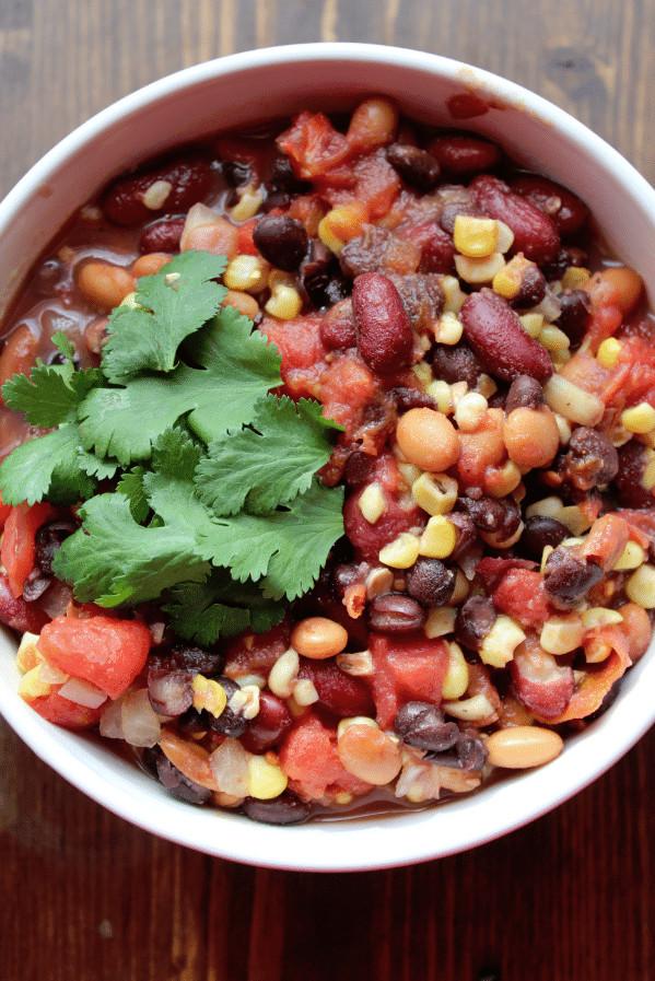 Vegetarian Chili Recipe Crock Pot  Crock Pot Ve arian Three Bean Chili