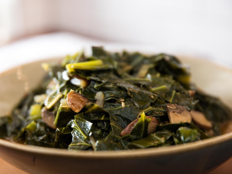 Vegetarian Collard Greens  Vegan Southern Style Collard Greens With Mushrooms Recipe