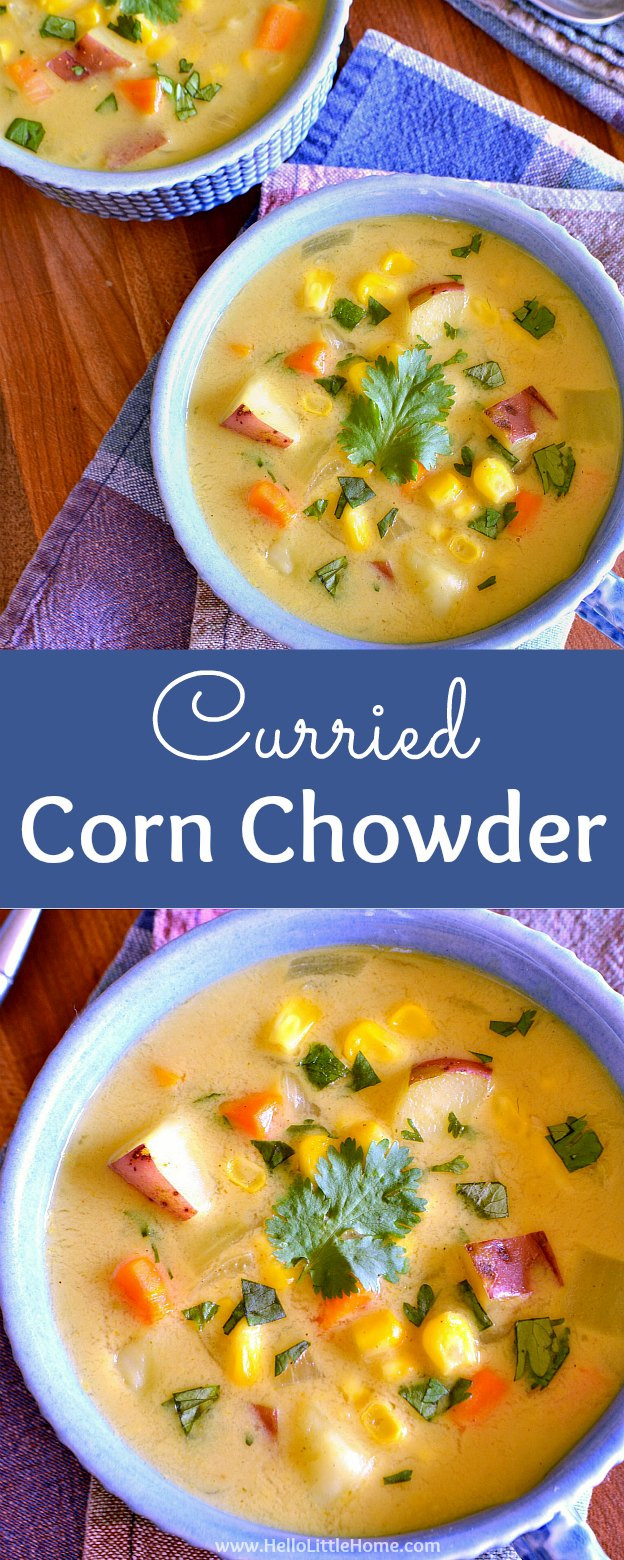 Vegetarian Corn Chowder  Easy Curried Corn Chowder with Coconut Milk