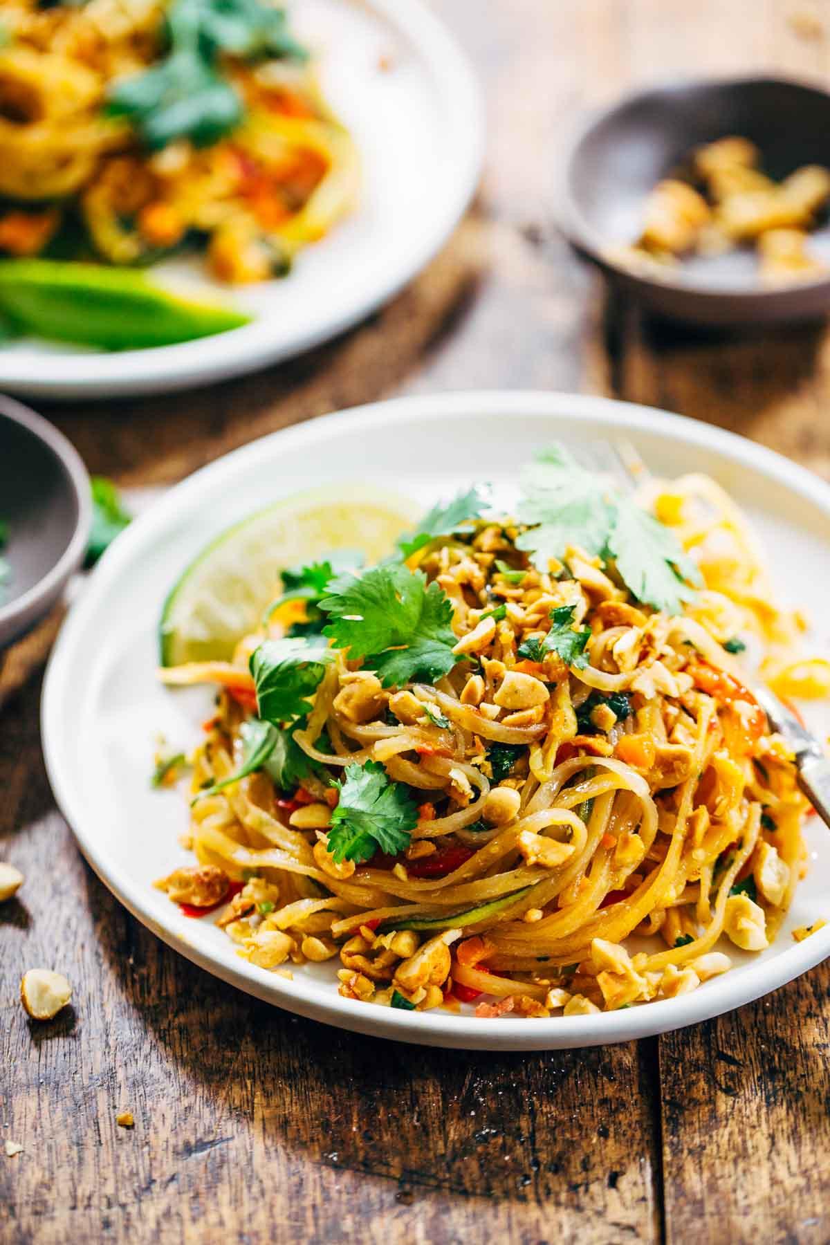 Vegetarian Dinner Recipes  Rainbow Ve arian Pad Thai with Peanuts and Basil Recipe