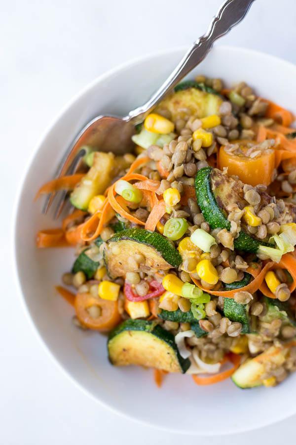 Vegetarian Entree Recipes  Honey Mustard Lentil Ve able Salad Fooduzzi