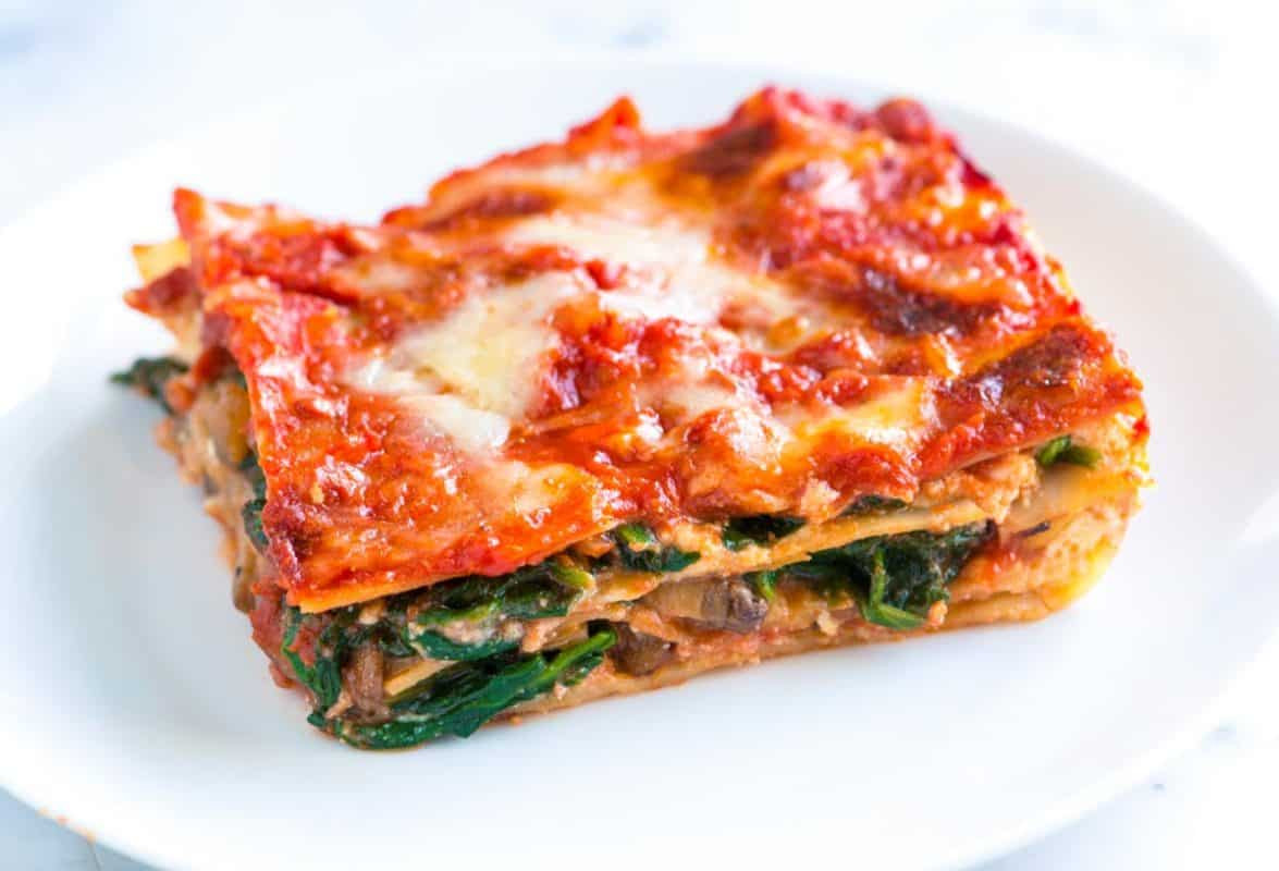 Vegetarian Lasagna Spinach  Healthier Spinach Lasagna Recipe with Mushrooms