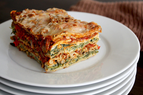 Vegetarian Lasagna Spinach  Roasted Ve able and Spinach Lasagna Nooschi