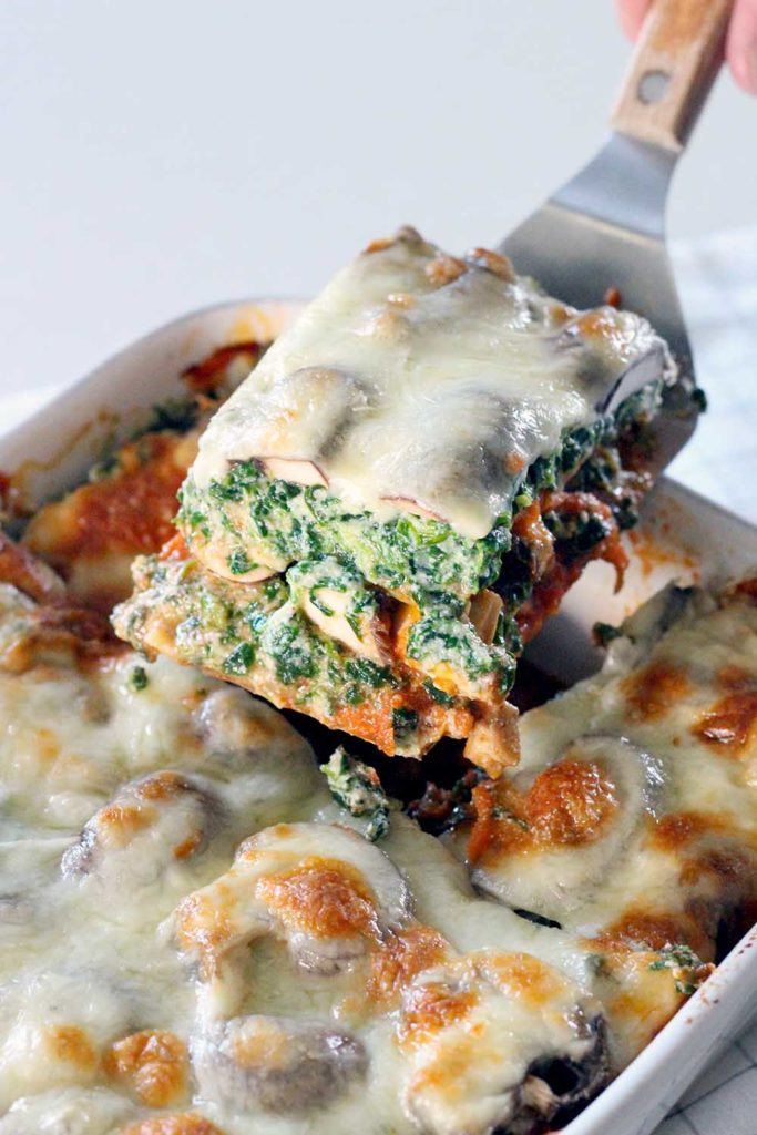Vegetarian Lasagna Spinach  Spinach and Mushroom Ve arian Lasagna