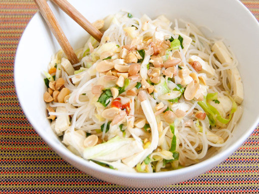 Vegetarian Rice Noodles Recipe  Spicy Rice Noodle Salad with Cabbage and Tofu