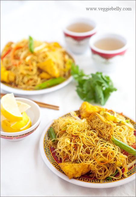 Vegetarian Rice Noodles Recipe  Singapore Rice Noodles Recipe Veggie Belly