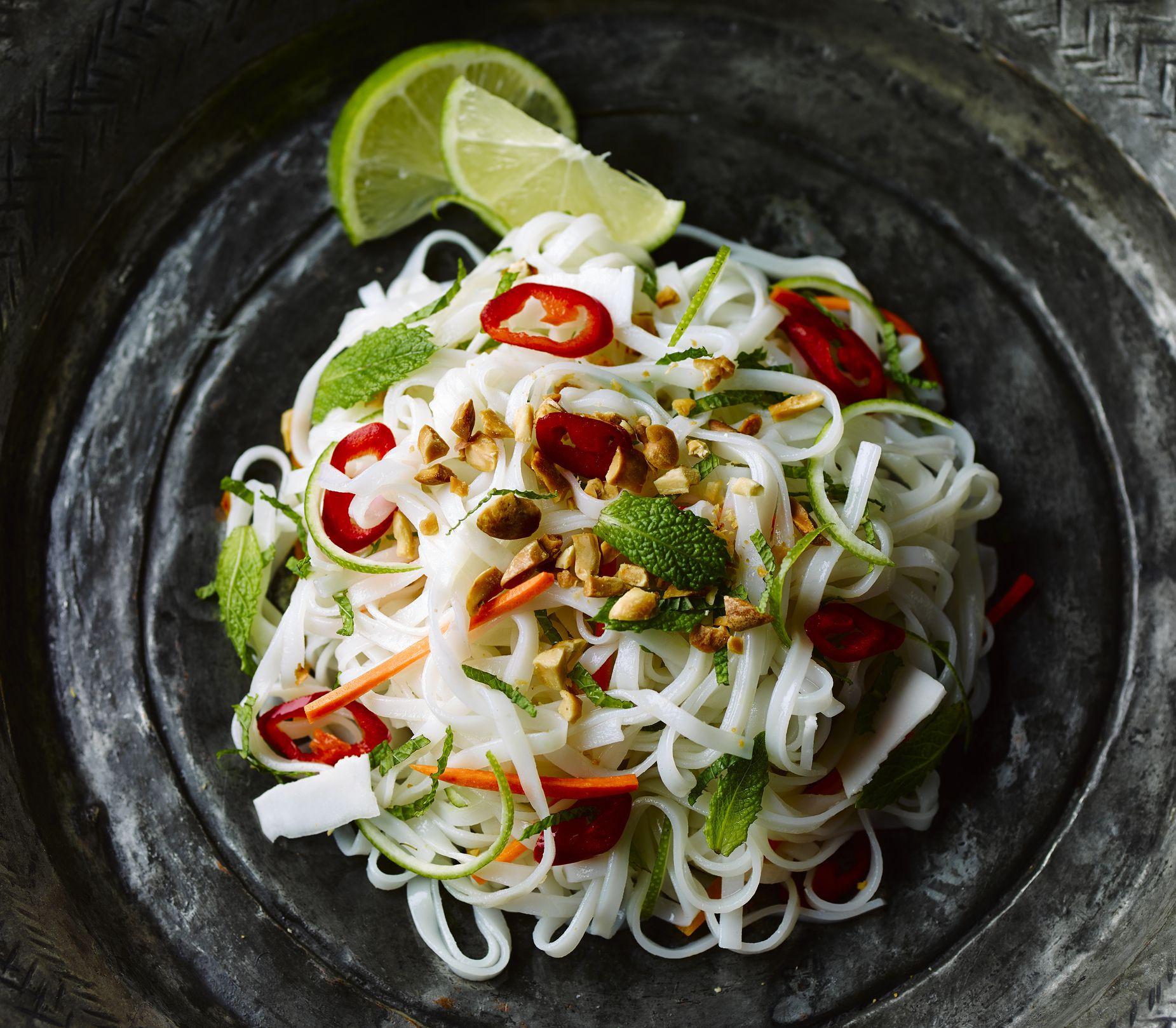 Vegetarian Rice Noodles Recipe  Easy Thai Ve arian Rice Noodles with Basil Recipe