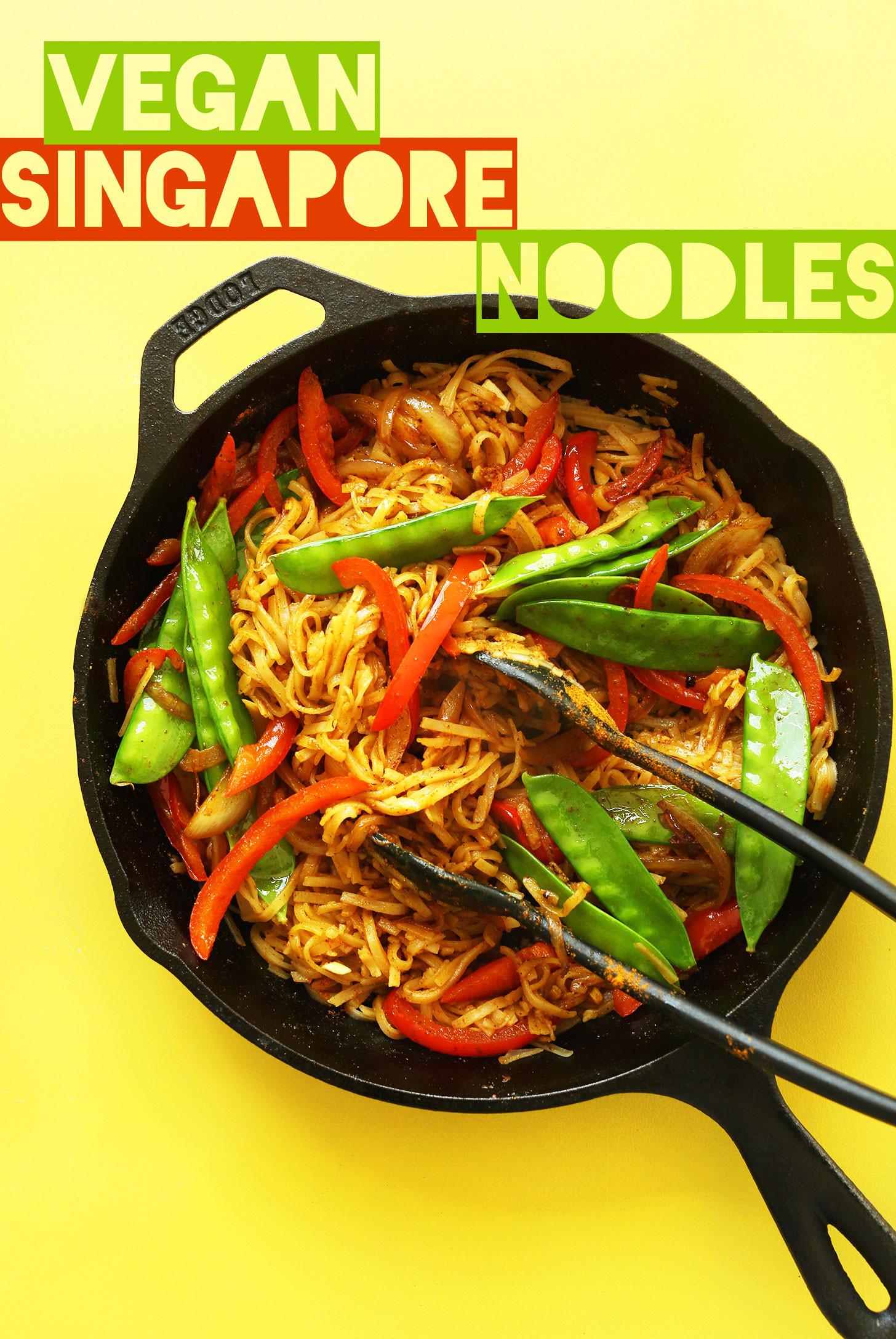 Vegetarian Rice Noodles Recipe  AMAZING Vegan Singapore Noodles 10 ingre nts simple