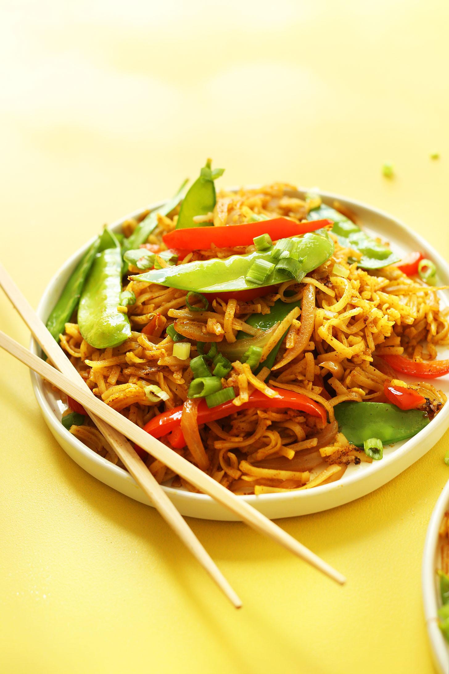Vegetarian Rice Noodles Recipe  EASY Vegan Singapore Noodles 10 ingre nts simple