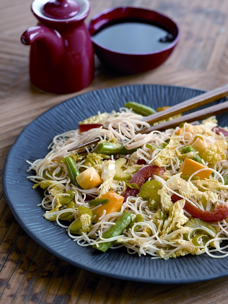Vegetarian Rice Noodles Recipe  Szechuan Style Ve able Stir Fry with Rice Noodles Recipe