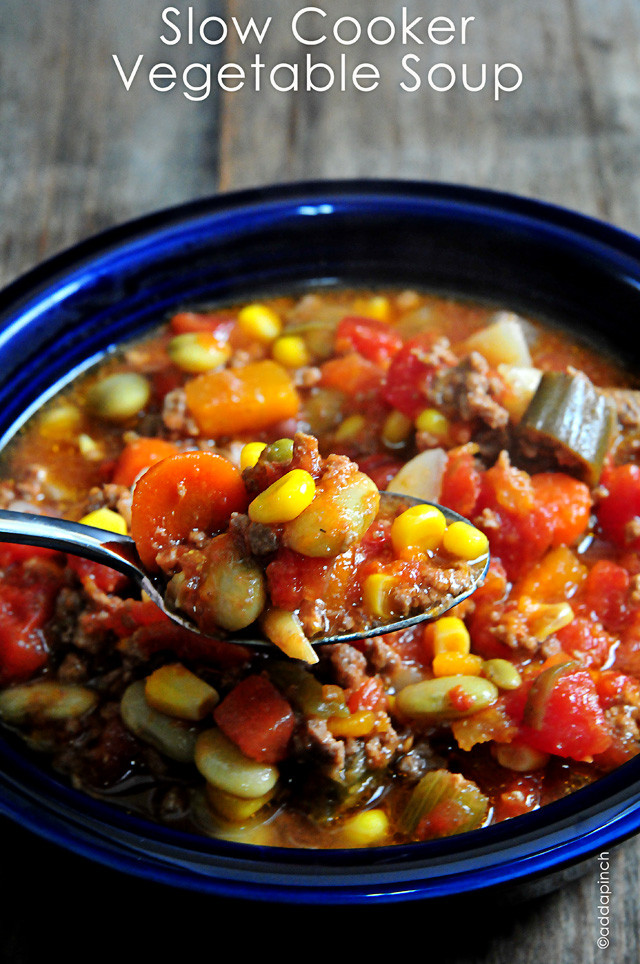 Vegetarian Slow Cooker Recipes  Slow Cooker Ve able Soup Recipe Add a Pinch