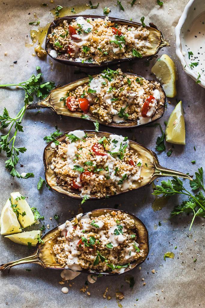 Vegetarian Stuffed Eggplant  Couscous Stuffed Eggplant with Lemon Tahini Sauce
