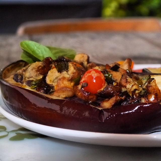 Vegetarian Stuffed Eggplant  Ve arian Stuffed Eggplant with Savory Pistachio Cream