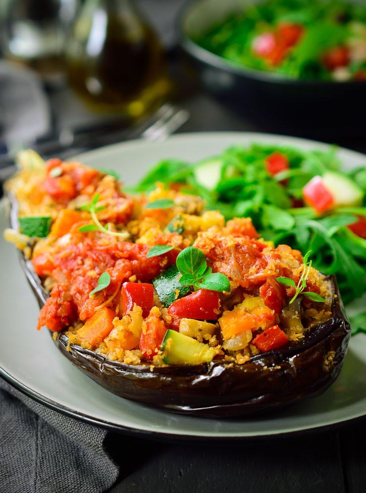 Vegetarian Stuffed Eggplant  Vegan Stuffed Eggplant Provençal
