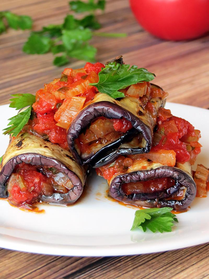 Vegetarian Stuffed Eggplant  Ve able Stuffed Eggplant Rollatini Yummy Addiction