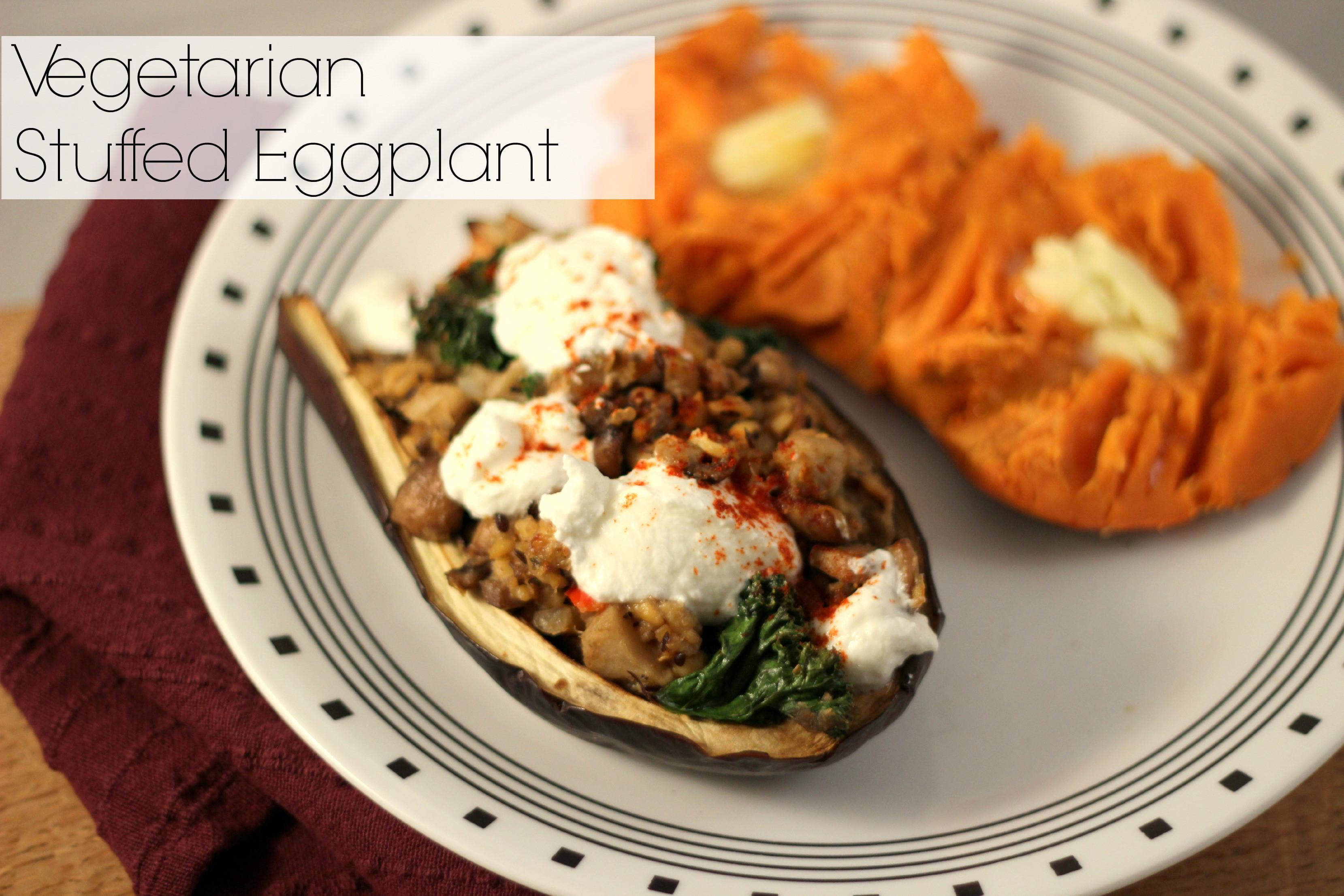 Vegetarian Stuffed Eggplant  Ve arian Stuffed Eggplant